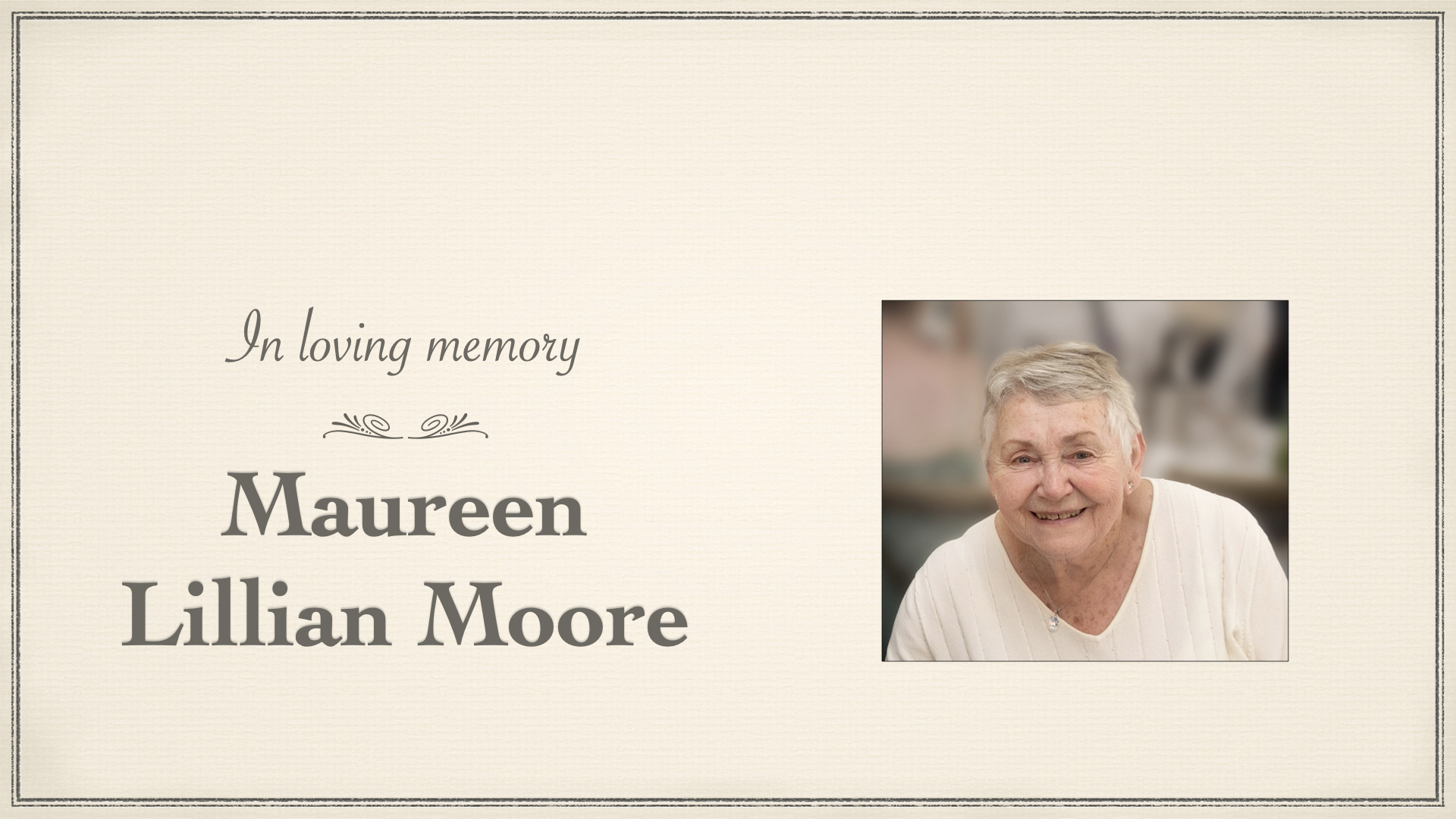 Funeral of Maureen Lillian Moore – Friday 30th April at 1pm