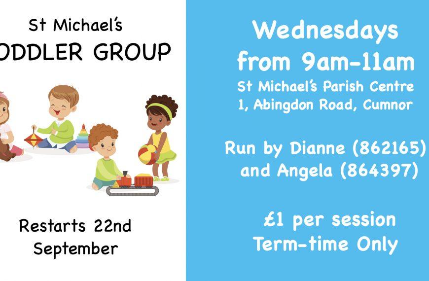 Toddler Group restarting 22nd September